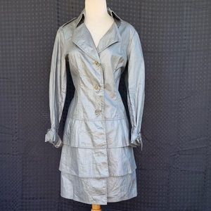 Worth Pewter Peplum Trench Coat